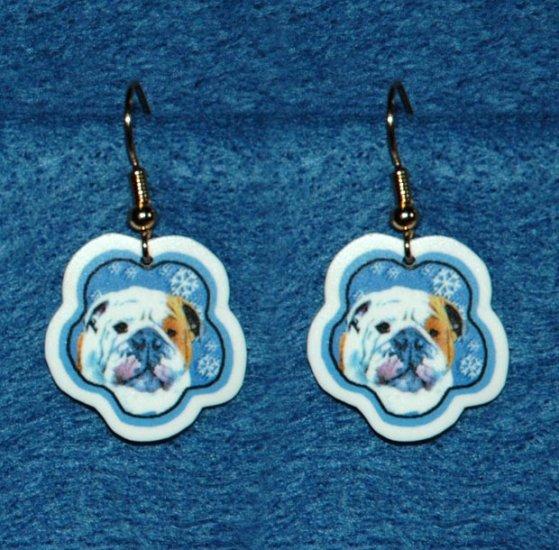 Bulldog Jewelry Christmas Snowflake Earrings Handmade