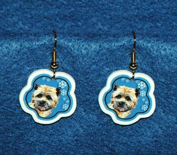Cairn Terrier Christmas Snowflake Earrings Jewelry