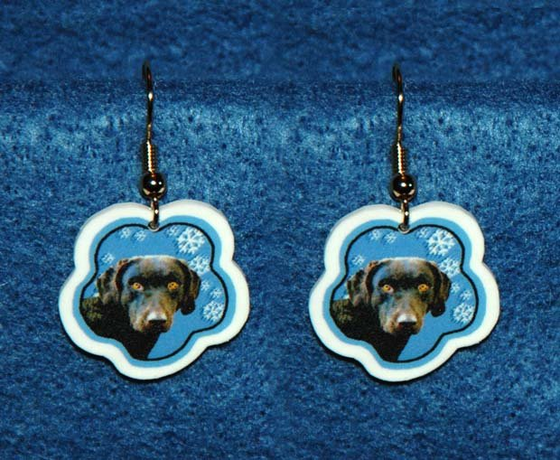 Chesapeake Bay Retriever Dog Jewelry Christmas Snowflake Earrings Handmade