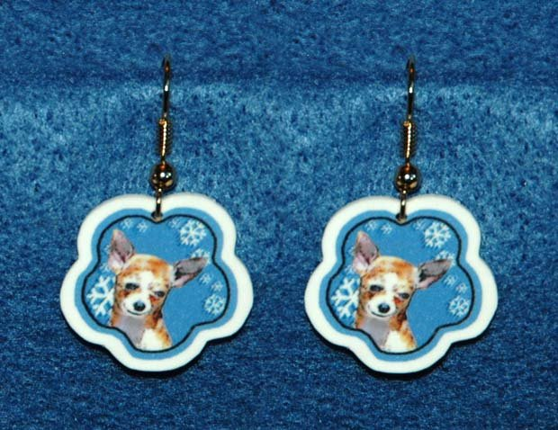Chihuahua Dog Christmas Snowflake Earrings Handmade
