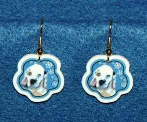 Clumber Spaniel Puppy Jewelry Christmas Snowflake Earrings Handmade