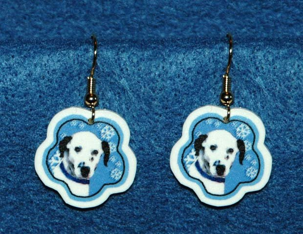 Dalmation Dog Christmas Snowflake Earrings Jewelry Handmade