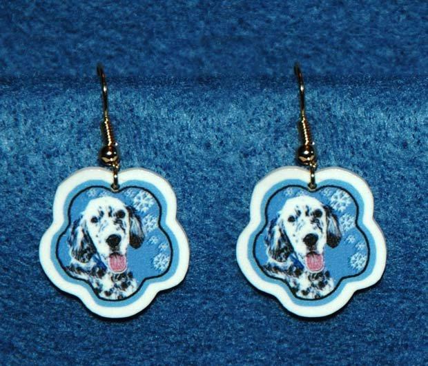 English Setter Jewelry Christmas Snowflake Earrings Handmade