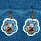 French Bulldog Frenchie Dog Christmas Snowflake Earrings Handmade