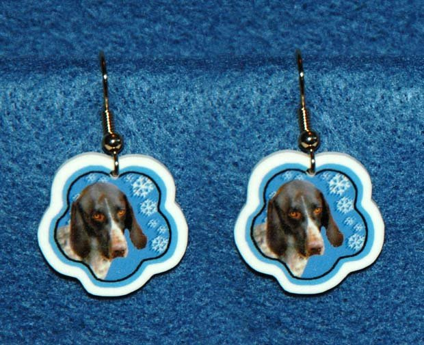 German Shorthaired Pointer Jewelry Christmas Snowflake Earrings Handmade