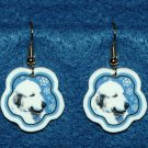 Great Pyrenees Dog Christmas Snowflake Earrings Handmade