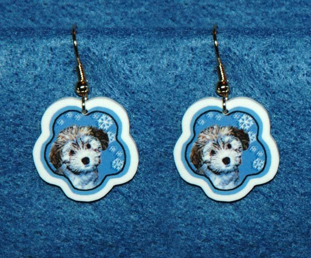 Havanese Puppy Jewelry Christmas Snowflake Earrings Handmade
