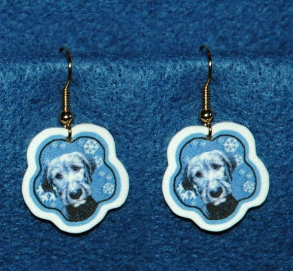 Irish Wolfhound Puppy Dog Jewelry Christmas Snowflake Earrings Handmade