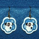 Jack Russell Terrier Dog Jewelry Christmas Snowflake Earrings Handmade