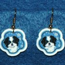Japanese Chin Dog Jewelry Christmas Snowflake Earrings Handmade