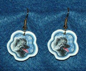 Keeshond Dog Christmas Snowflake Earrings Jewelry Handmade