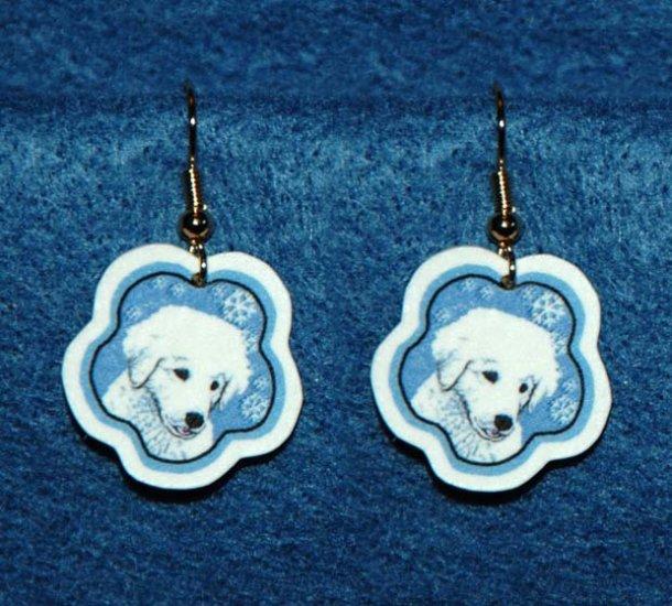 Kuvasz Puppy Dog Christmas Snowflake Earrings Jewelry Handmade