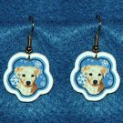 Lab Yellow Labrador Puppy Christmas Snowflake Earrings Handmade