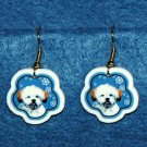 Lhasa Apso Puppy Jewelry Christmas Snowflake Earrings Handmade