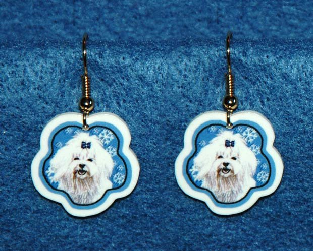 Maltese Dog Christmas Snowflake Earrings Jewelry Handmade