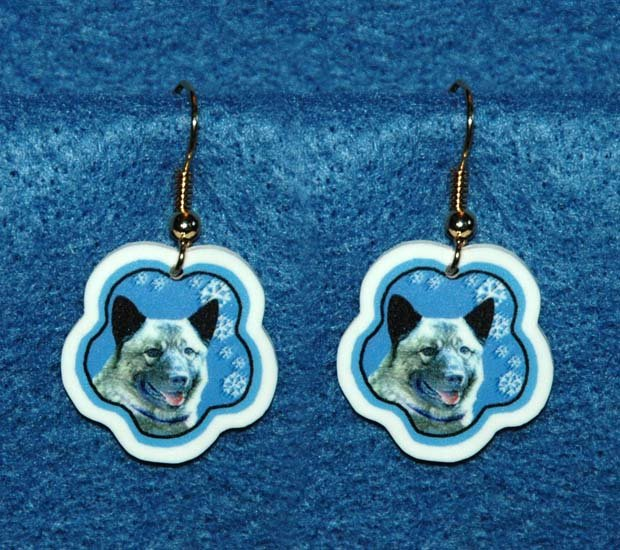 Norwegian Elkhound Norway Flag Christmas Snowflake Earrings Jewelry