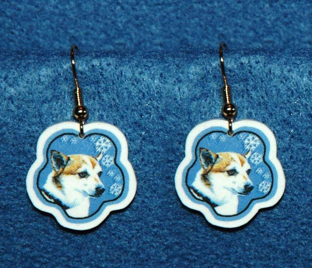 Norwegian Lundehund Jewelry Christmas Snowflake Earrings Handmade