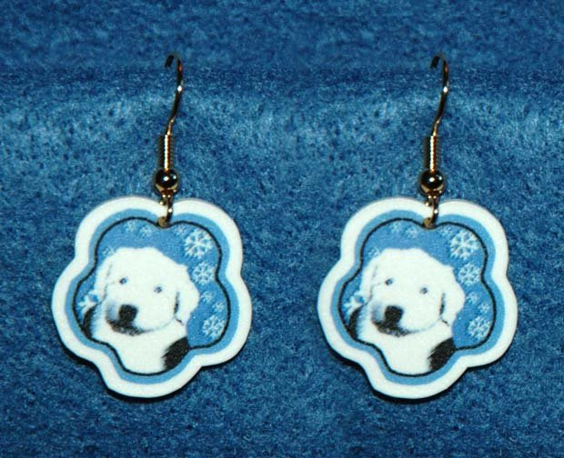 Old English Sheepdog Puppy Jewelry Christmas Snowflake Earrings Handmade