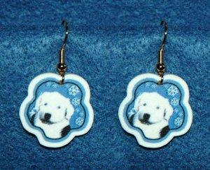Old English Sheepdog Puppy Jewelry Christmas Snowflake Earrings Handmade