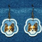 Papillon Dog Christmas Snowflake Earrings Handmade