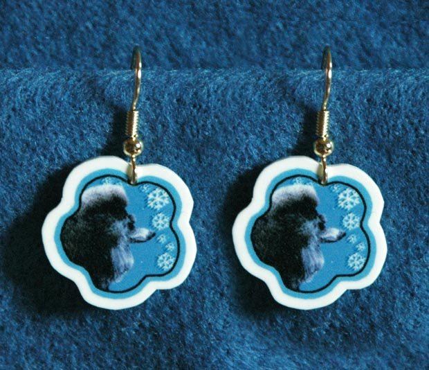 Poodle Jewelry Christmas Snowflake Earrings Handmade