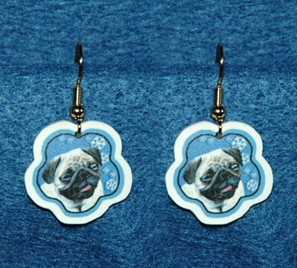 Pug Dog Jewelry Christmas Snowflake Earrings Handmade