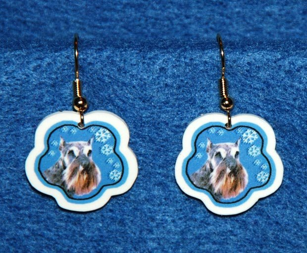 Schnauzer Jewelry Christmas Snowflake Earrings Handmade