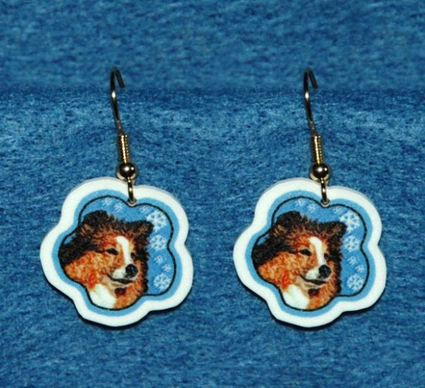 Sheltie Shetland Sheepdog Christmas Snowflake Earrings Jewelry Handmade