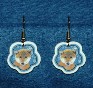 Shiba Inu Jewelry Christmas Snowflake Earrings Handmade