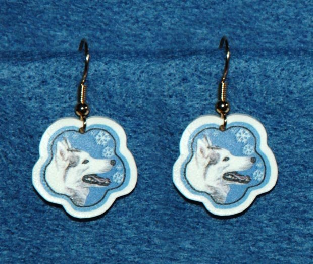Siberian Husky Jewelry Christmas Snowflake Earrings Handmade