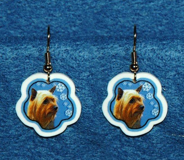 Silky Terrier Jewelry Christmas Snowflake Earrings Handmade