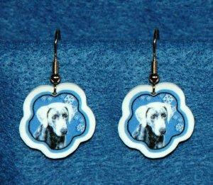 Weimaraner Jewelry Christmas Snowflake Earrings Handmade