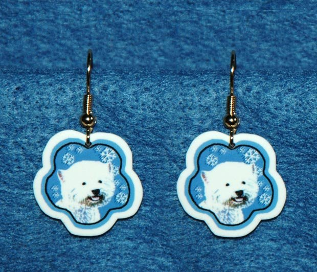 West Highland White Terrier Westie Dog Christmas Snowflake Earrings Jewelry
