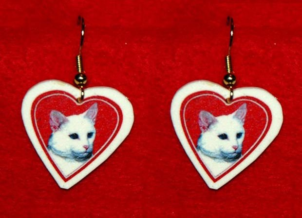White Cat Heart Valentine Earrings Jewelry Handmade
