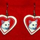 White Cat Heart Valentine Earrings Jewelry Handmade
