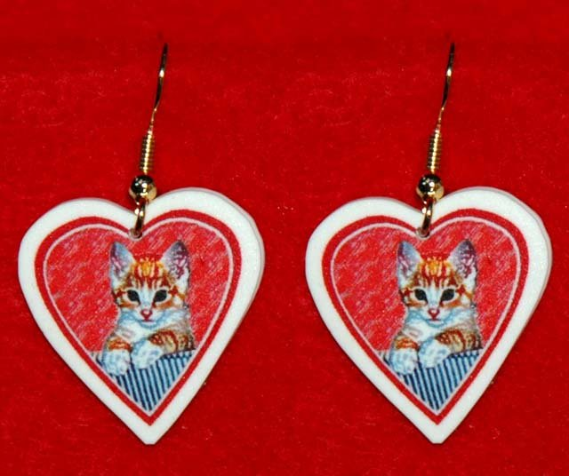Yellow Kitten Cat Heart Jewelry Earrings Handmade