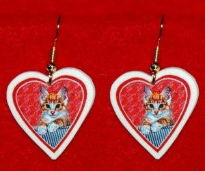 Yellow Kitten Cat Heart Jewelry Earrings Handmade