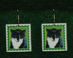 Black & White Tuxedo Cat Earrings Jewelry Handmade