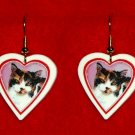 Calico Cat Heart Valentine Earrings Handmade