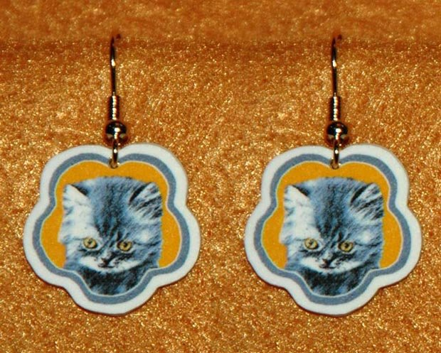 Gray Kitten Cat Earrings Jewelry Handmade