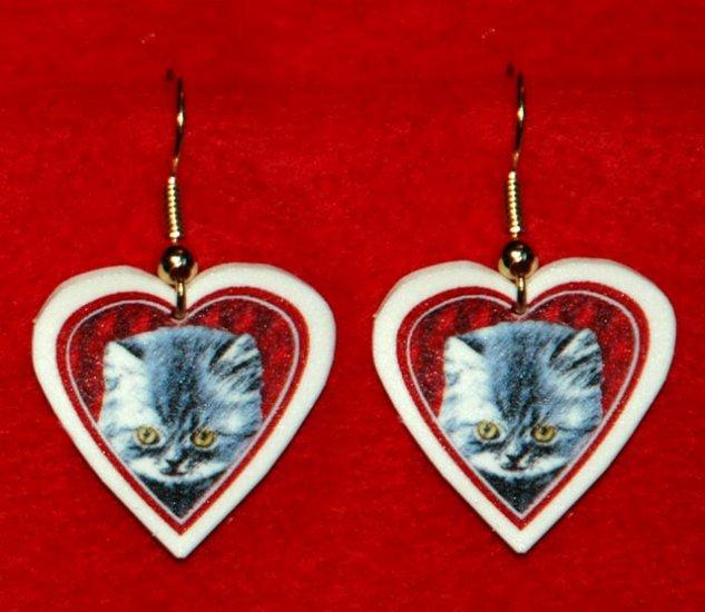 Gray Kitten Cat Heart Valentines Earrings Jewelry Handmade