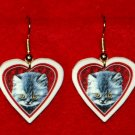 Gray Kitten Cat Heart Valentines Earrings Jewelry Handmade