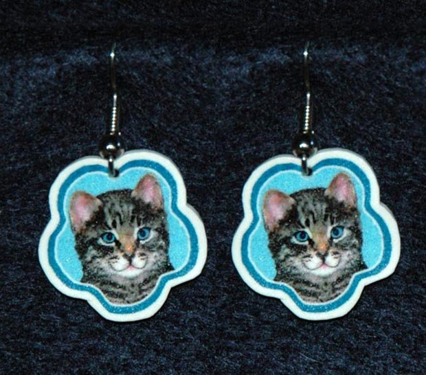 Gray Tiger Kitten Cat Earrings Jewelry Handmade