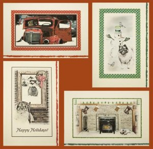Keeshond Dog Old Fashioned Christmas Cards