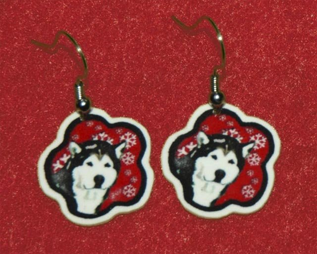 Alaskan Malamute Red Snowflakes Earrings Jewelry