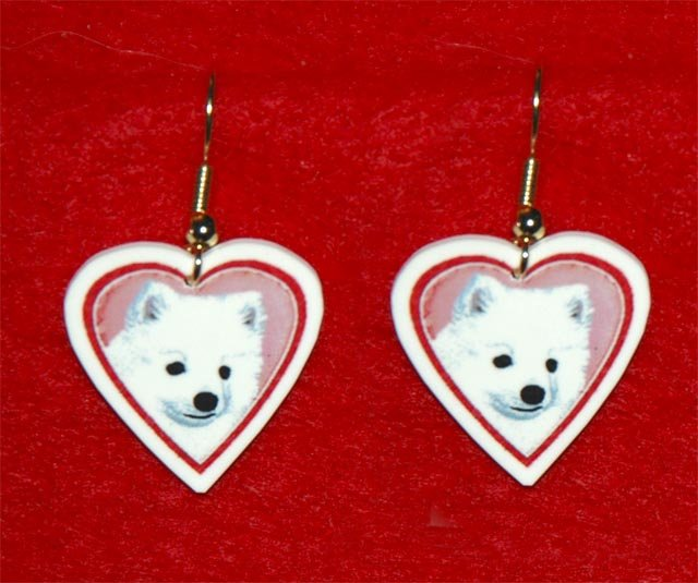 American Eskimo Eskie Heart Earrings Jewelry Handmade
