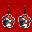 Australian Shepherd Red Christmas Snowflake Earrings Jewelry