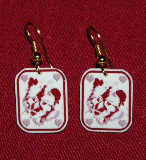 Keeshond Dog Earrings Handmade Red Hearts