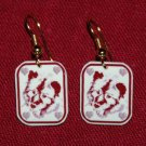 Keeshond Dog Earrings Handmade Red Hearts