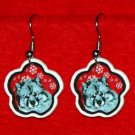 Keeshond Red Snowflake Christmas Holiday Earrings Jewelry